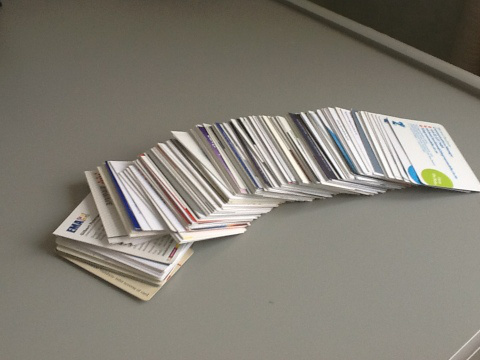 pile of businesscard